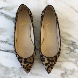 Christian Louboutin Leopard Pointed Toe Flats
